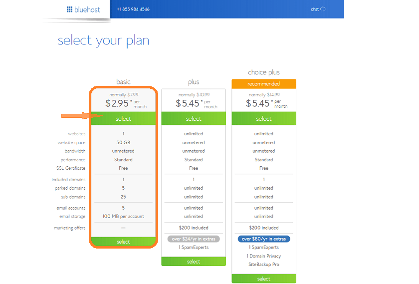 Select Bluehost hosting plans